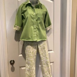 Denim&Co Lime Green 2-pc Set Size Small